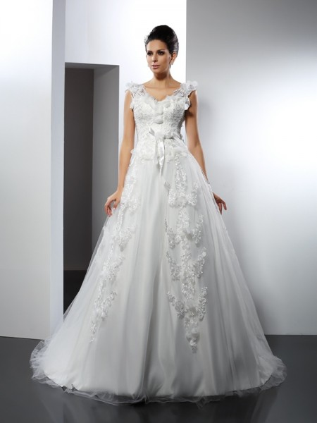 A-Line/Princess Sleeveless Straps Lace Cathedral Train Satin Wedding Dresses