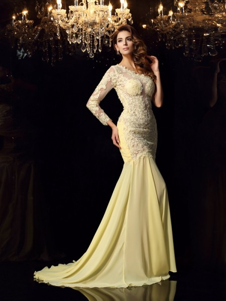 Trumpet/Mermaid Long Sleeves One-Shoulder Applique Chapel Train Chiffon Dresses