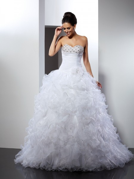 Ball Gown Sleeveless Sweetheart Beading Cathedral Train Organza Wedding Dresses
