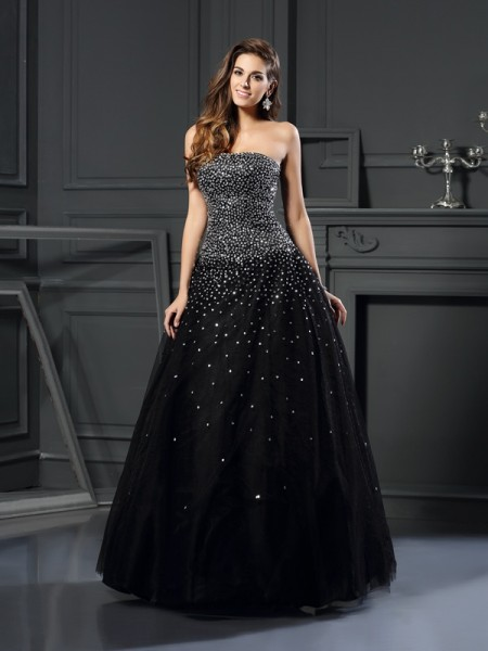 Ball Gown Sleeveless Strapless Beading Floor-Length Satin Dresses