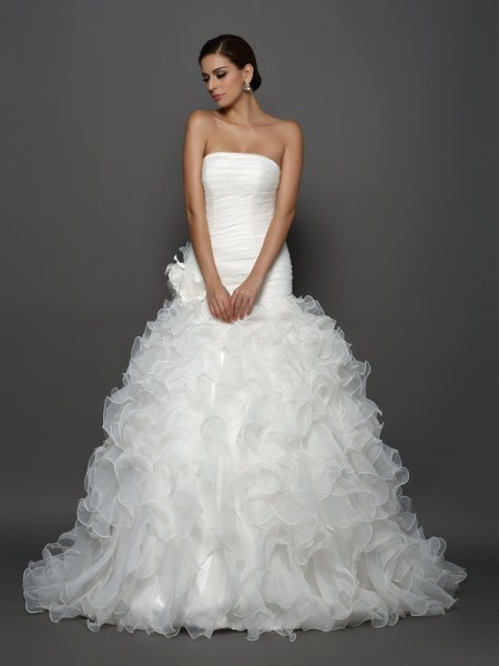 Ball Gown Sleeveless Strapless Hand-Made Flower Cathedral Train Organza Wedding Dresses
