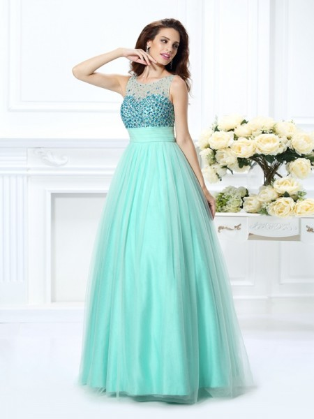 Ball Gown Sleeveless Bateau Beading Floor-Length Chiffon Dresses
