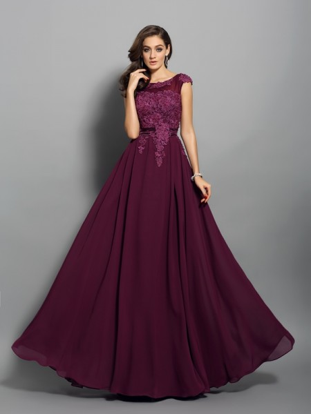 A-Line/Princess Sleeveless Scoop Applique Floor-Length Chiffon Dresses