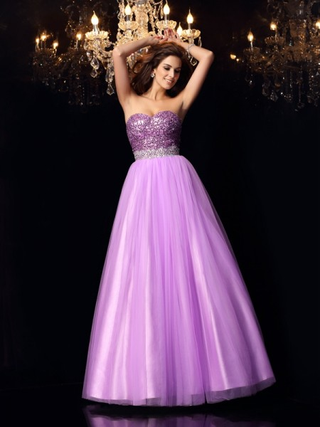 Ball Gown Sleeveless Sweetheart Sequin Floor-Length Elastic Woven Satin Dresses