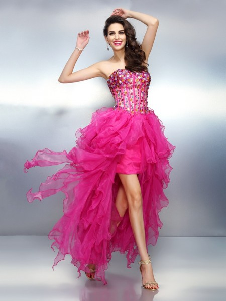 A-Line/Princess Sleeveless Sweetheart Rhinestone Asymmetrical Organza Dresses