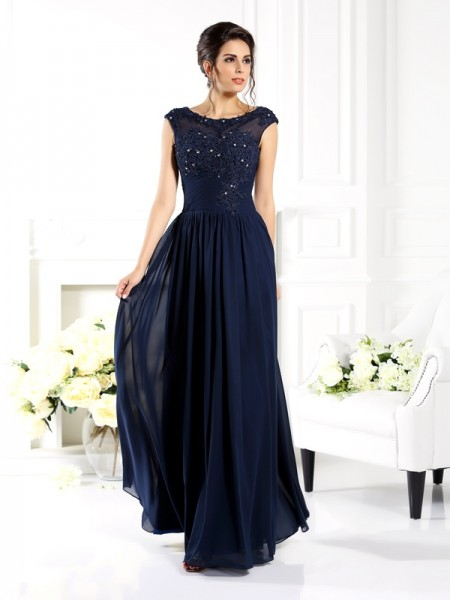 A-Line/Princess Sleeveless Scoop Beading Floor-Length Chiffon Mother of the Bride Dresses