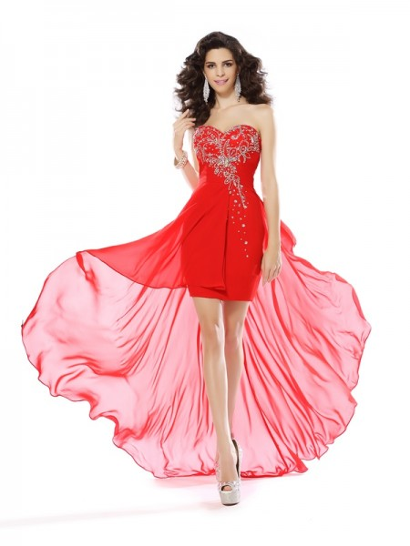 Sheath/Column Sleeveless Sweetheart Beading Short/Mini Chiffon Dresses