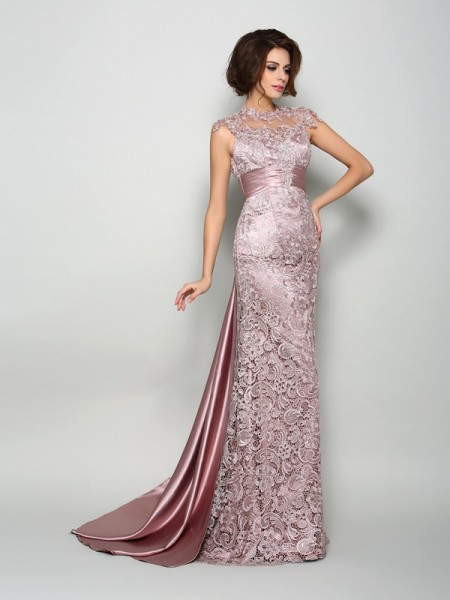 A-Line/Princess Sleeveless High Neck Court Train Elastic Woven Satin Mother of the Bride Dresses
