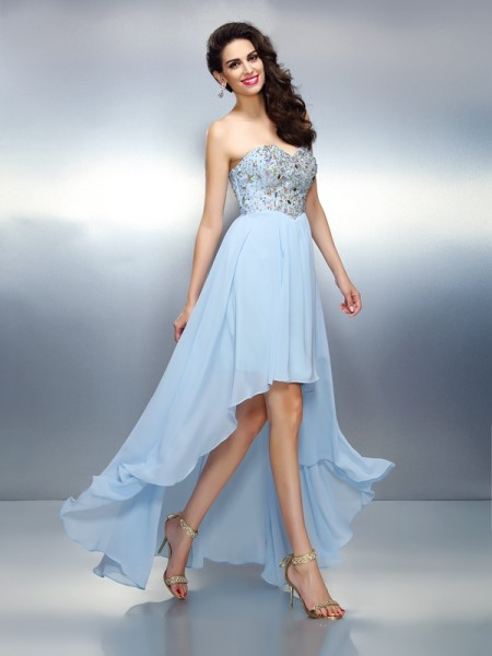 A-Line/Princess Sleeveless Sweetheart Ruffles Asymmetrical Chiffon Dresses