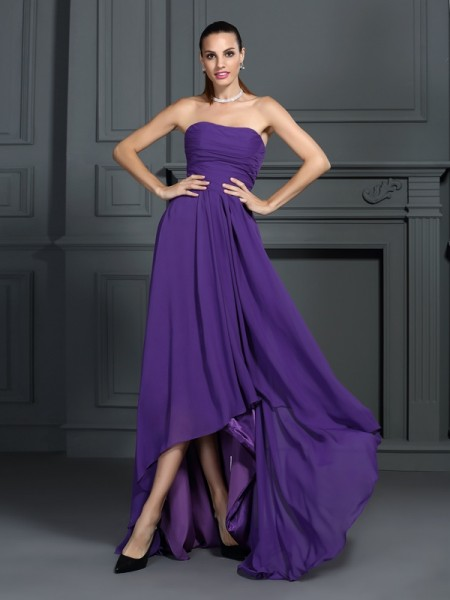 A-Line/Princess Sleeveless Strapless Pleats Asymmetrical Chiffon Dresses