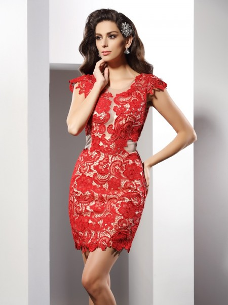 Sheath/Column Sleeveless Scoop Lace Short/Mini Elastic Woven Satin Dresses