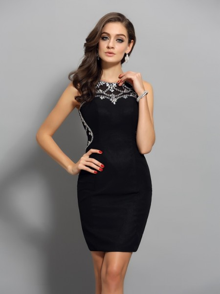 Sheath/Column Sleeveless Scoop Beading Short/Mini Chiffon Dresses