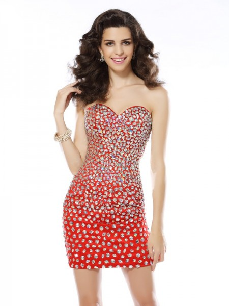 Sheath/Column Sleeveless Sweetheart Rhinestone Short/Mini Chiffon Dresses