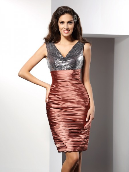 Sheath/Column Sleeveless V-neck Knee-Length Silk like Satin Dresses