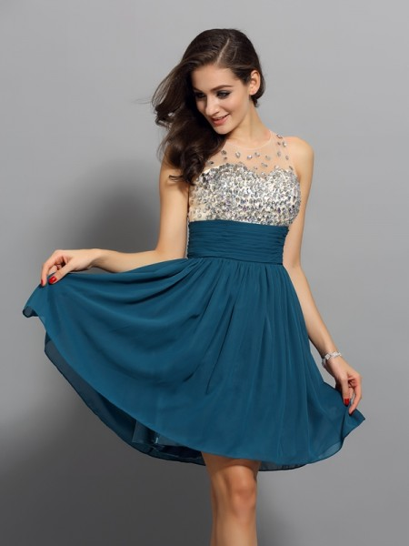 A-Line/Princess Sleeveless Bateau Rhinestone Short/Mini Chiffon Dresses