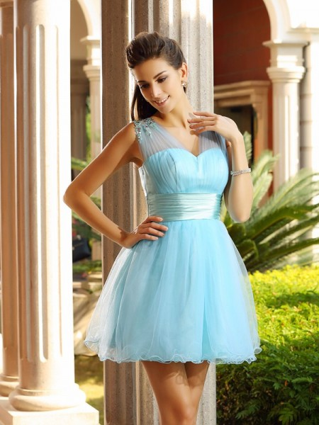 A-Line/Princess Sleeveless V-neck Beading Short/Mini Net Dresses