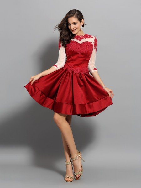 A-Line/Princess 1/2 Sleeves High Neck Applique Short/Mini Satin Dresses
