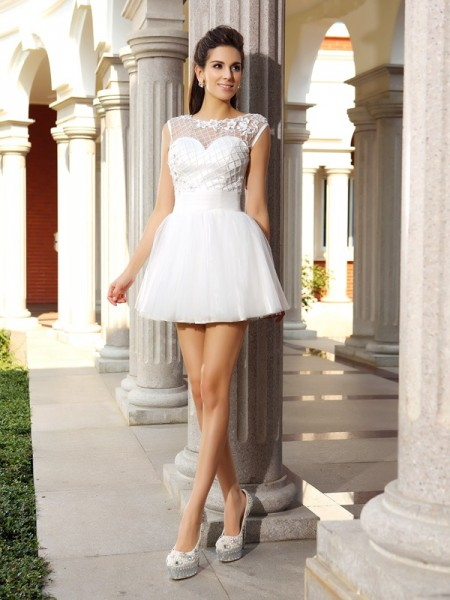 A-Line/Princess Sleeveless Scoop Beading Short/Mini Satin Dresses