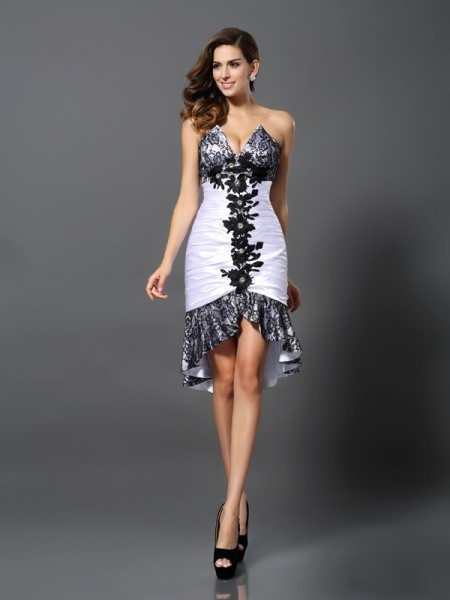 Sheath/Column Sleeveless Sweetheart Lace Asymmetrical Elastic Woven Satin Dresses