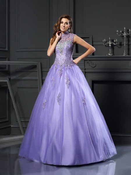 Ball Gown Sleeveless High Neck Beading Floor-Length Net Quinceanera Dresses