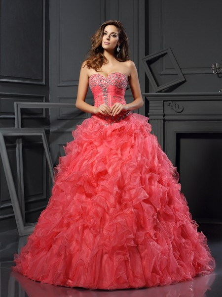 Ball Gown Sleeveless Sweetheart Ruffles Floor-Length Organza Quinceanera Dresses