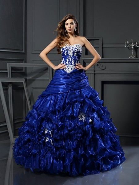 Ball Gown Sleeveless Sweetheart Beading Floor-Length Tulle Quinceanera Dresses