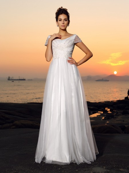 A-Line/Princess Short Sleeves Off-the-Shoulder Beading Floor-Length Tulle Wedding Dresses
