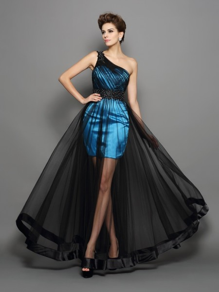 A-Line/Princess Sleeveless One-Shoulder Ruched Floor-Length Elastic Woven Satin Dresses