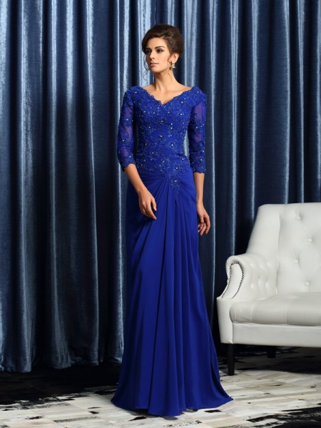 A-Line/Princess 3/4 Sleeves V-neck Applique Sweep/Brush Train Chiffon Mother of the Bride Dresses