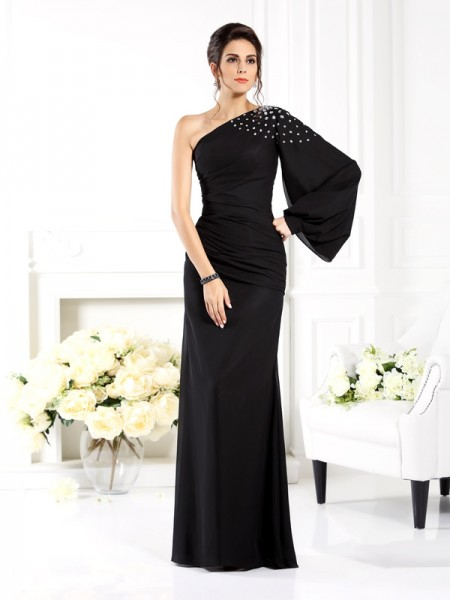 Sheath/Column Long Sleeves One-Shoulder Beading Floor-Length Chiffon Mother of the Bride Dresses