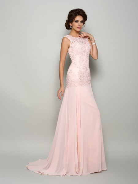 Trumpet/Mermaid Sleeveless Scoop Beading Sweep/Brush Train Chiffon Mother of the Bride Dresses