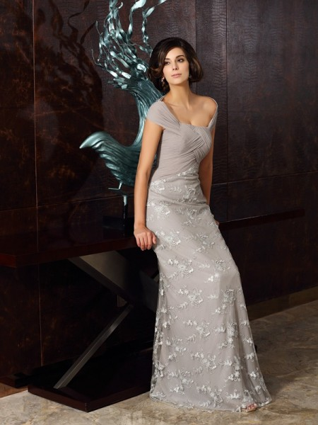 A-Line/Princess Sleeveless Off-the-Shoulder Applique Floor-Length Chiffon Mother of the Bride Dresses