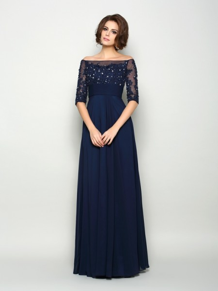 A-Line/Princess 1/2 Sleeves Off-the-Shoulder Beading Floor-Length Chiffon Mother of the Bride Dresses