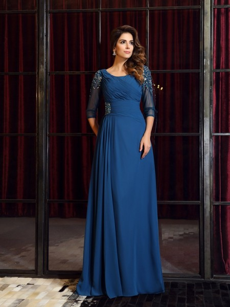 A-Line/Princess 1/2 Sleeves Square Ruched Floor-Length Chiffon Dresses