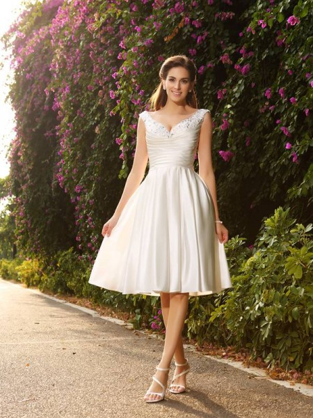 A-Line/Princess Sleeveless V-neck Beading Knee-Length Satin Wedding Dresses