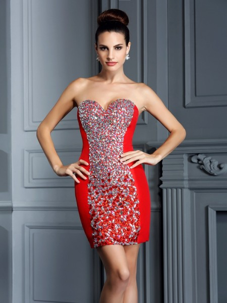 Sheath/Column Sleeveless Sweetheart Embroidery Short/Mini Taffeta Dresses