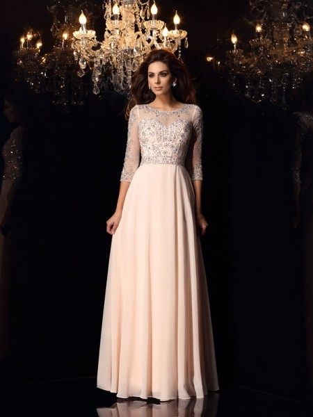 A-Line/Princess 3/4 Sleeves Scoop Beading Floor-Length Chiffon Dresses
