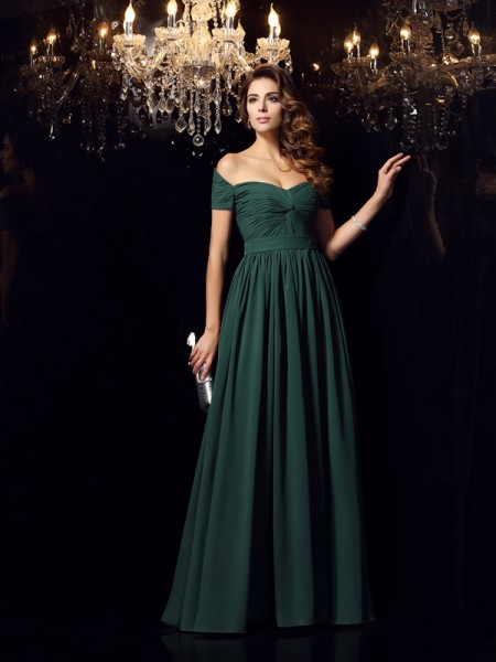 A-Line/Princess Sleeveless Off-the-Shoulder Ruched Floor-Length Chiffon Dresses