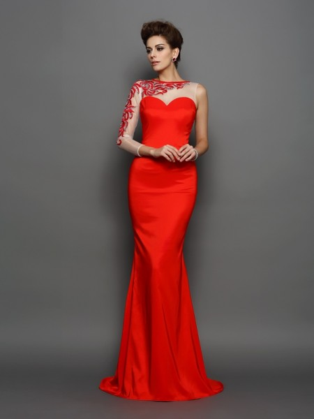 Trumpet/Mermaid Long Sleeves High Neck Embroidery Court Train Elastic Woven Satin Dresses