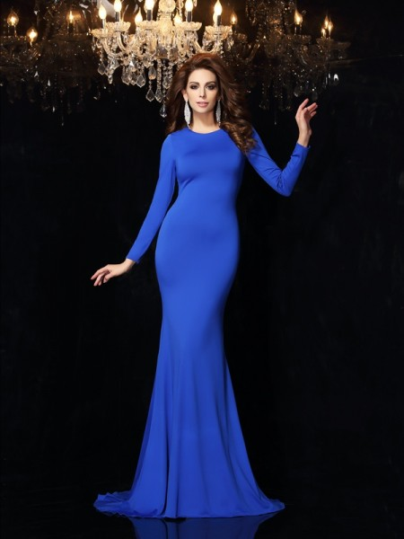 Trumpet/Mermaid Long Sleeves Scoop Sweep/Brush Train Spandex Dresses