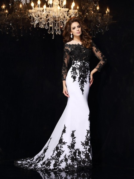 Sheath/Column Long Sleeves Scoop Lace Sweep/Brush Train Chiffon Dresses