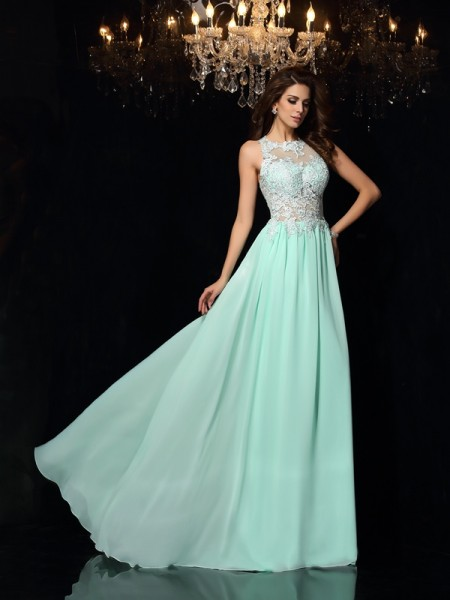 A-Line/Princess Sleeveless High Neck Applique Sweep/Brush Train Chiffon Dresses