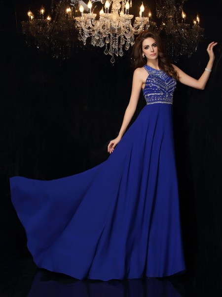 A-Line/Princess Sleeveless High Neck Beading Sweep/Brush Train Chiffon Dresses