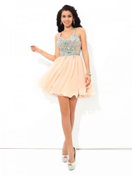 A-Line/Princess Sleeveless Straps Rhinestone Short/Mini Chiffon Dresses