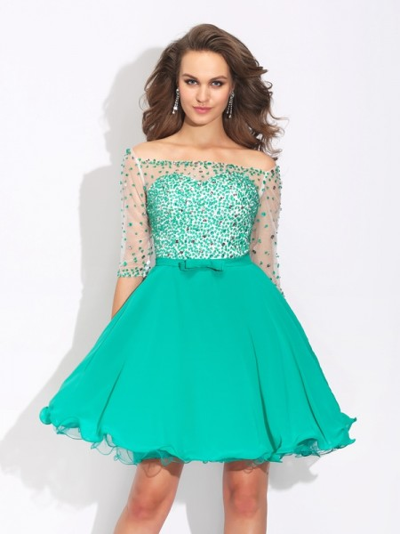 A-Line/Princess 1/2 Sleeves Off-the-Shoulder Beading Short/Mini Chiffon Dresses