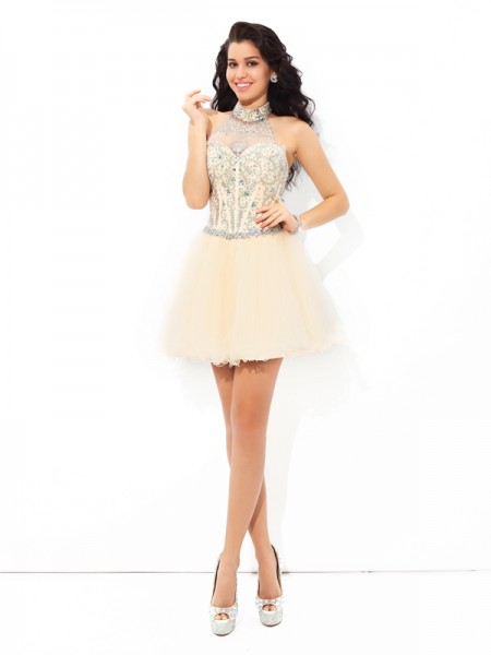A-Line/Princess Sleeveless Halter Beading Short/Mini Satin Dresses