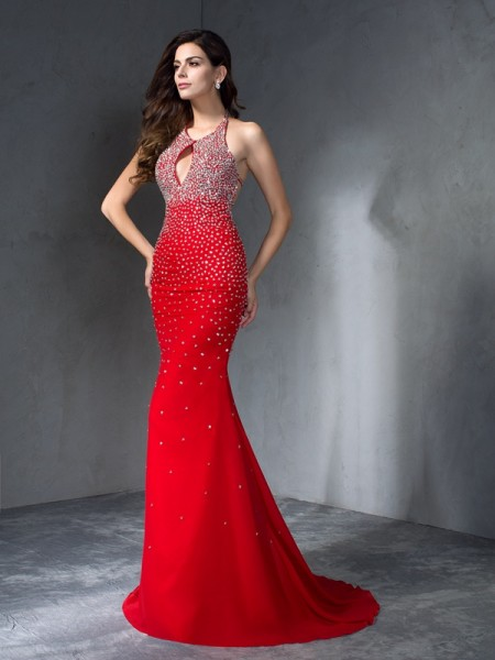 Trumpet/Mermaid Sleeveless Halter Beading Sweep/Brush Train Chiffon Dresses