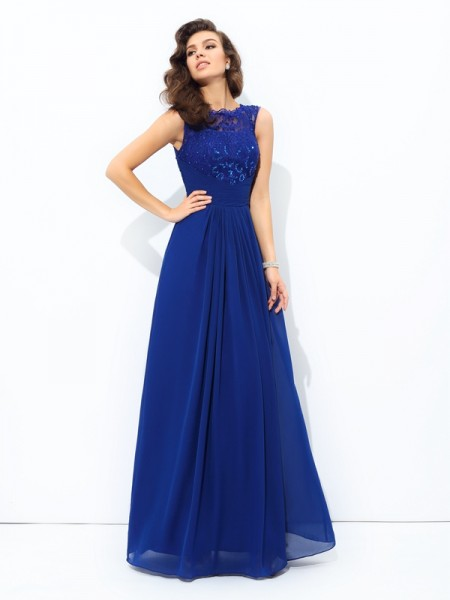 A-Line/Princess Sleeveless Scoop Lace Floor-Length Chiffon Dresses