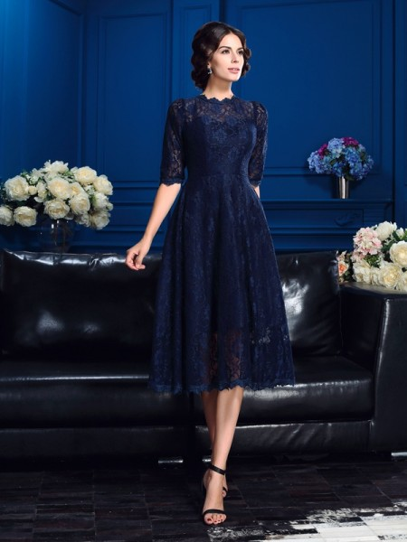 A-Line/Princess 1/2 Sleeves Jewel Lace Knee-Length Lace Mother of the Bride Dresses