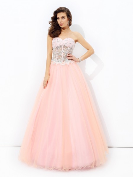 A-Line/Princess Sleeveless Sweetheart Lace Floor-Length Net Dresses
